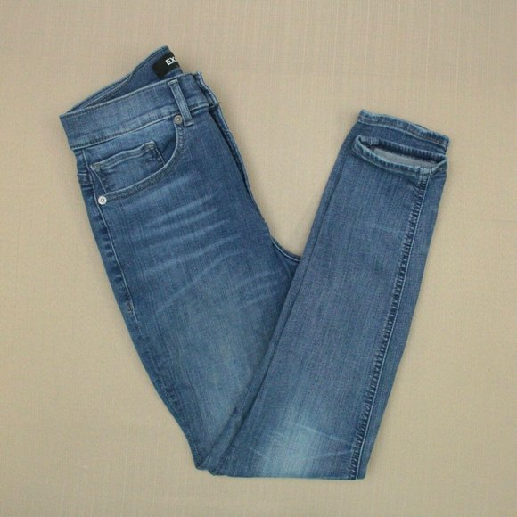 Express High Rise Perfect Curves Legging Jeans Women's Size 4 Short Medium Wash